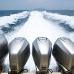 The engines of a fast traveling speed boat