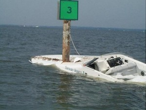 crashed speed boat